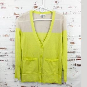 Calvin Klein Color Block Cardigan Yellow Nude